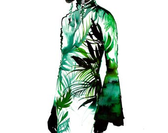 "Original 13 x 22"" watercolor fashion illustration painting, Lush, by Jessica Durrant"