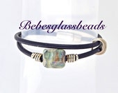 Bebe's Boro Beads Wrapped Leather Navy Bracelet Sterling Silver Magnetic Clasp Large
