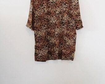 90's Leopard Print Blouse