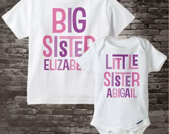 Big Sister Little Sister Outfits Shirt set of 2, Sibling Shirt, Personalized Tshirt with Pink and Purple Letters 12082011d