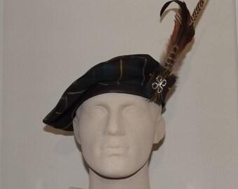 Men's Green and Brown Tartan Tam, Buchanan Hunting Modern Tartan Beret, Scottish Hat, Celtic Hat