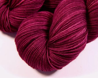 Hand Dyed Yarn - Sock Weight 4 Ply Superwash Merino Wool Yarn - Plumberry Semi-Solid - Indie Dyed Knitting Yarn, Sock Yarn, Tonal Red Violet