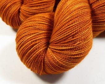 Hand Dyed Sock Yarn - Sock Weight Superwash Merino Wool Yarn - Copper - Indie Dyed Knitting Yarn, Tonal Orange Fingering Yarn