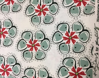 "SALE - OP /90s Free Spirit ""AMBROSIA"" by Kathy Davis Charming, Festive Floral cotton// green/red/black on off white ground"