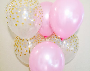 Pink and Gold Confetti Look Latex Balloon, Pink and Gold 1st Birthday, Pink and Gold Shower,Pink and Gold Confetti, Gold Confetti Balloon
