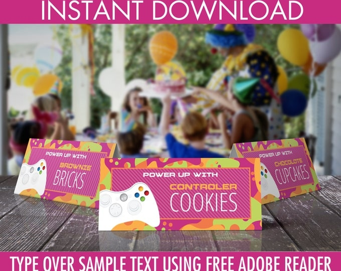 Video Game Food Labels- Video Game Party, Video Game Birthday, Pink | Editable Text - INSTANT Download Printable PDF