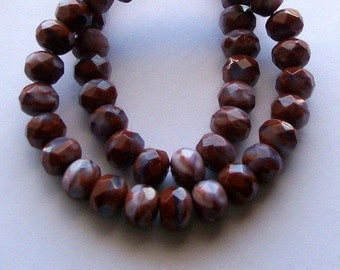 44ct 6x8mm Czech Dark Red and Purple Rondelle Beads