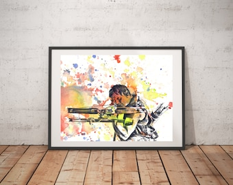 Walking Dead Daryl Poster Print From Original Watercolor Painting Print The Walking Dead Poster Print Walking Dead Gift Walking Dead Decor