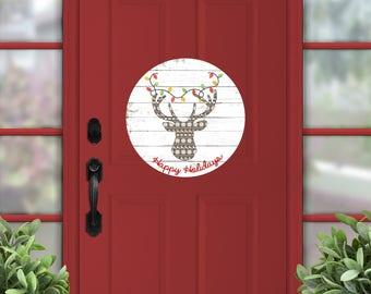 """Christmas decor, deer door hanger, wooden sign, Christmas door sign, wooden deer, sign, cabin decor, 18"""" circle, hunter gift, happy holidays"""