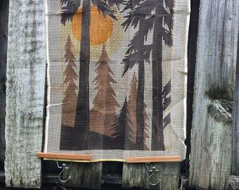 Vintage Latch Hook Rug Canvas Woodlands Sunrise 1970s
