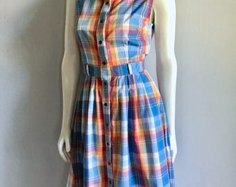 Vintage Women's 80's Plaid Dress, Pleated, Sleeveless, Knee Length (M)