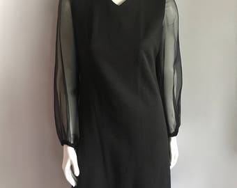 Vintage Women's 60's Mod, Black, Shift Dress, Chiffon by Puritan (M)