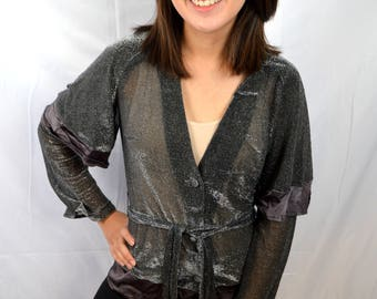 Awesome Vintage Boutique 70s Shimmer Sparkle 1970s Disco Top - by Mushroom