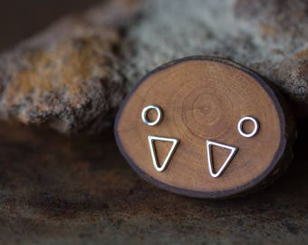 Triangle and Circle Combo, Double Piercing Stud Earring Set, Handcrafted Sterling Silver Stud Earrings, Geometric Minimalist Jewelry