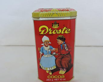 Vintage Droste Cacao/Cocoa Tin with Little Dutch Girl And Boy
