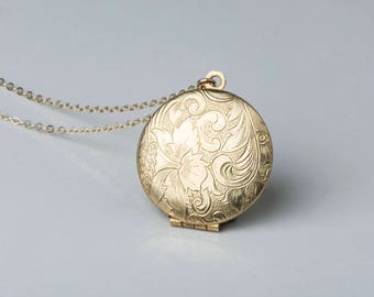 Gold locket etsy gold locket charm necklace 14kt long gold necklace chain round locket paisley flower aloadofball Gallery