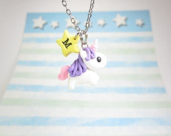 Unicorn necklace, Initial necklace, personalized necklace, unicorn jewelry, cute unique gift, best friend gift, unicorn gift, star necklace