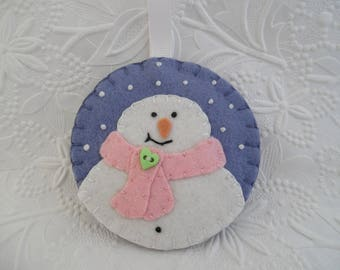 Pink Snowman Ornament Scarf Snowflake Girl Primitive Christmas Felt Decoration Felted Wool