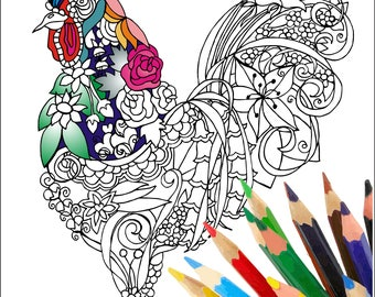 Rooster Adult coloring page