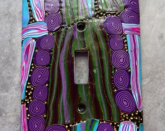 Purple Spirals and Wandering Paths, light switch cover, abstract designs in polymer clay