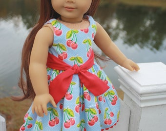 18 inch Doll Dress, Fits American Girl, Blue & Red Cherry Dress