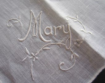MARY Embroidered HANKY Whitework Hankie Handkerchief Hand-Rolled Edge