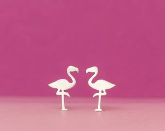 Flamingo Earrings Cute Bird Stud Earrings sterling Silver Bird Jewelry Bridesmaid gift girl gift for mom kid summer earrings exotic bird
