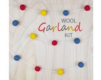 Wool Felting Garland Kit, DIY wet felting kit for all ages, stocking stuffer