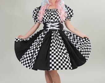 Harlequin Dress Womens Halloween Costume Circus Clown Mardi Gras Dress Adult Costume Black and White Check Checkered Custom Size Plus