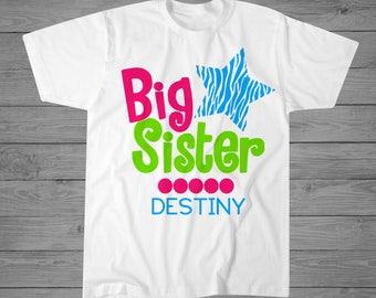 Big Sister T-Shirt   Big Sister Gift   New Big Sister Gift   Sibling Shirt   Announcement Shirt   Sibling Gift   Personalized T-Shirt