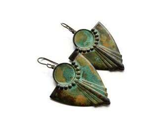 Verdigris Earrings /  Verdigris Patina / Retro Style / Art Deco Earrings / Patina Jewelry