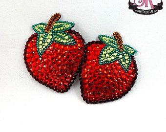 SAMPLE SALE Strawberry Rhinestone Nipple Pasties - Size M - SugarKitty Couture