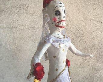 Vintage Mexican Day of the Dead Catrina bride, paper mache Calavera, wedding gift, Mexican folk art, skeleton bride wedding shower decor
