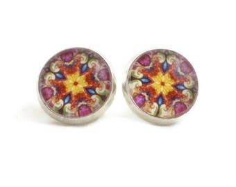 Mandala Earrings, Kaleidoscope Jewelry, Orange Purple Blue, Pretty Stud Earrings for Women Teens, Secret Sister Gifts Under 15, Nickel Free
