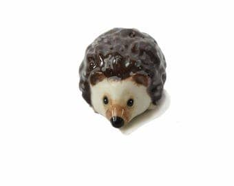 Miniature ceramic hedgehog figurine suit terrarium hand crafted  Anita Reay miniature hedgehog . ooak