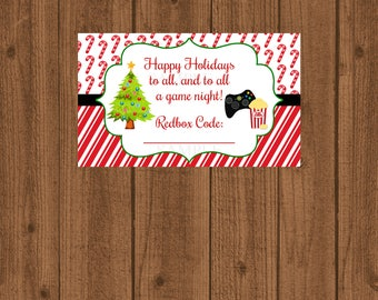 Game Night Tag / Redbox Gift Tag / Video Game Certificate / To all a Game Night Gift Card / Game Rental Gift Card / Video Game / Instant