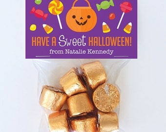 Halloween Treat Labels & Tags - Have A Sweet Halloween - Set of 24 personalized paper tags and 24 treat bags