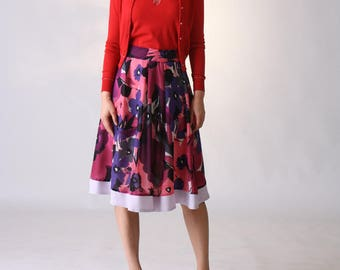 Floral Full Skirt, Silky Midi Skirt, Pleated Skirt, Circle Skirt, Purple Skirt,  Bridesmaid Skirt, Aline Skirt, Pink Skirt