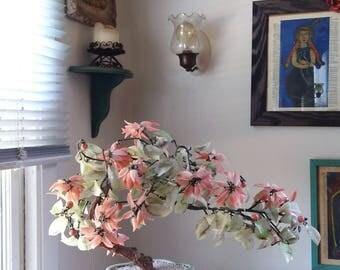 "Beautiful LARGE 21"" x 15"" x 7"" Vintage Asian Jade Agate Glass Leaves & Flowers Bonsai Tree in Celadon Vase Bowl ~ Mid Century Home Decor ~"