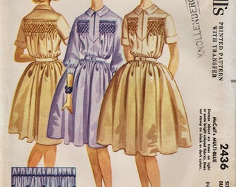 McCalls 2436 / Vintage Sewing Pattern With Smocking Transfer / Smocked Dress / Size 14 Bust 34