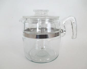 Pyrex Glass Coffee Percolator 6 Cup Flameproof Complete