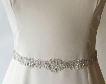 Mykonos Sash: Antique Silver Organic-Cut Silver Embroidered Organza and Sparkle Sash