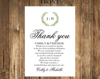 Wedding Thank You Note/Ceremony timeline