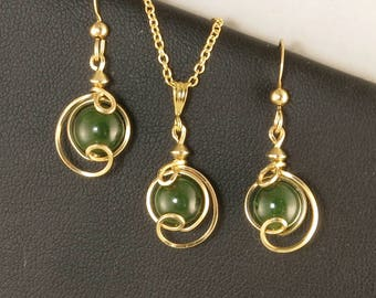 Green Jade Gemstone Gold Jewelry Gift Set For Her, Nephrite Jade Drop Pendant Chain Necklace and Earrings Jewelry Set,Real Jade Jewelry