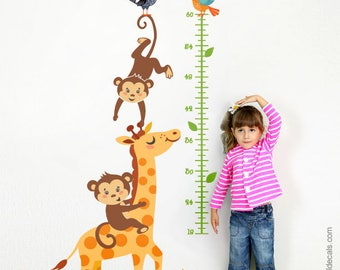 Growth Chart Wall Decal, Giraffe Growth Chart Wall Decal, Monkey Growth Chart Wall Sticker, Giraffe Wall Decor, Monkey Nursery Wall Decor