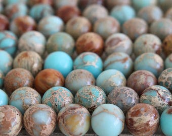 10mm Round Gemstone - 10mm Impression Jasper - African Opal Mala Beads Supply - Beads For Jewelry Making - Sky Blue - Choose Amount
