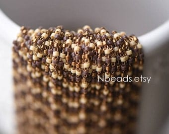 TOHO Seed Glass Bead Chain 1.8mm, Unplated Brass Beaded Tiny Chain, Multi Colors Mix  (#RB-052-5)/ 1 Meter=3.3ft