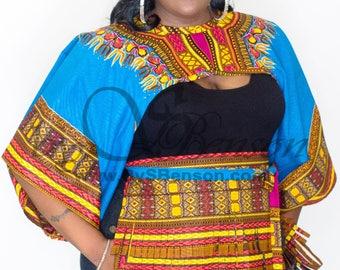 Aqua Dashiki African Print Shrug and fringe belt- One Size