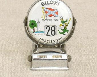 Vintage Perpetual Calendar, Mississippi, Biloxi, Confederate Memorabilia, Alligator, Desk Accessories, Souvenir, Round, Metal