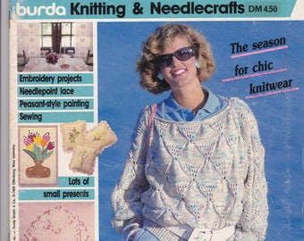 April 1986 Burda Knitting & Needlecrafts ANNA Embroidery Needlepoint Lace Sewing Peasant Style Painting